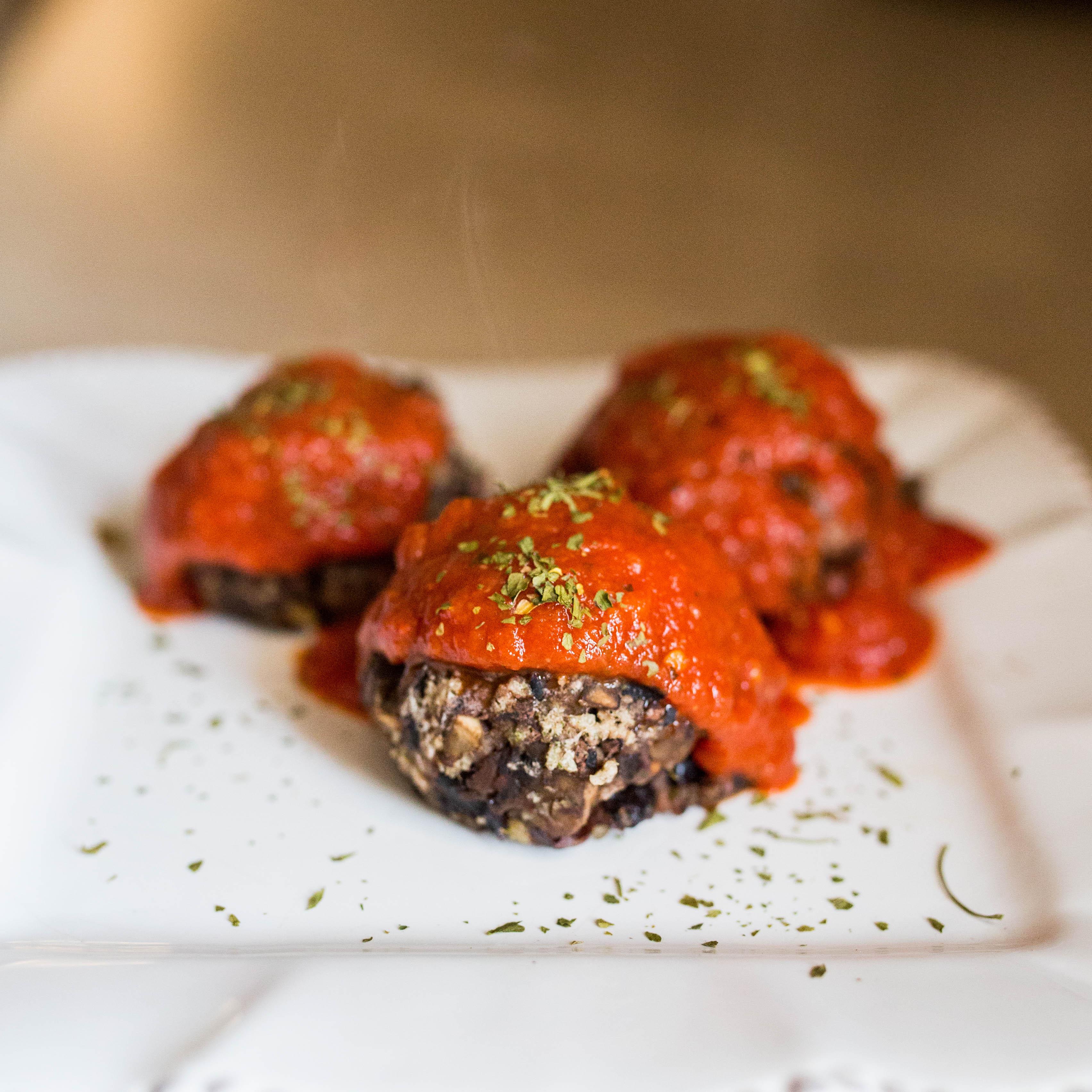 """Mushroom + Black-bean Vegan """"Meat""""balls"""